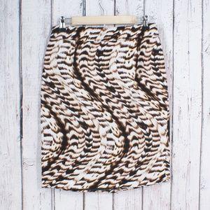 Calvin Klein Animal Print Pencil Skirt Full Lined